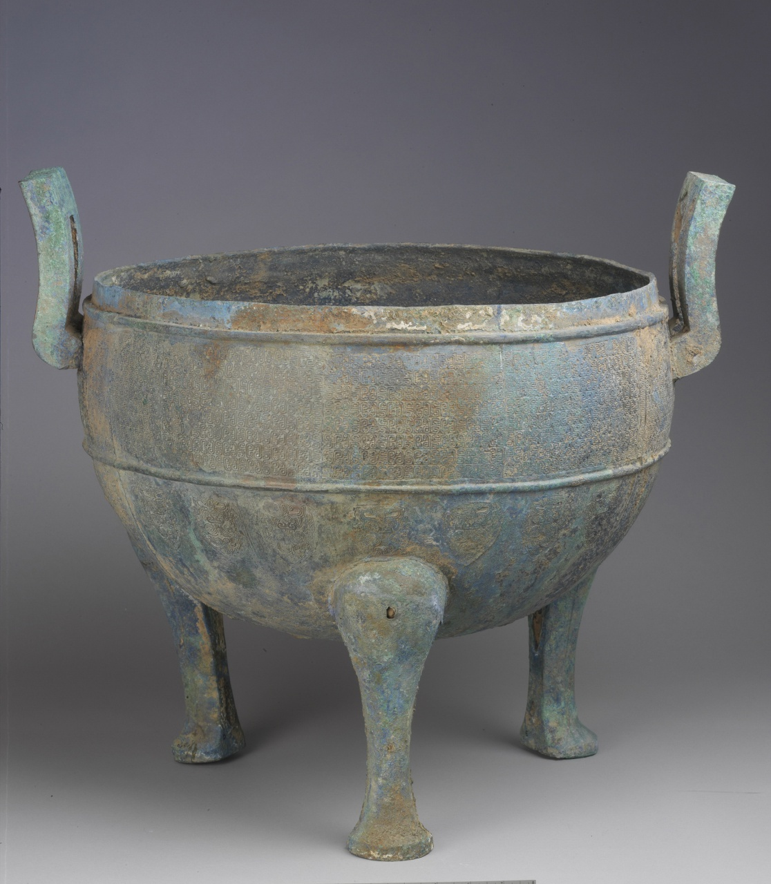 Ting Cauldron with Coiled Snake Pattern